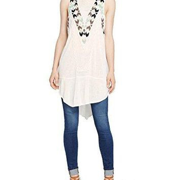 Free People Women's Adella Embroidered Mesh-Inset Tunic Top