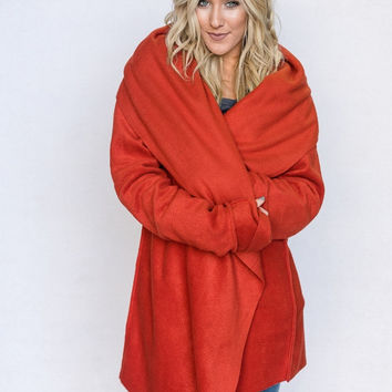 Oversized Fleece Yoga Wrap Jacket