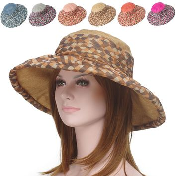 Women Summer Packable Hemp Lattice Floppy Wide Brim Two-tone Toyo Travel Sun Hat