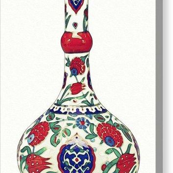 An Ottoman Iznik Style Floral Design Pottery Polychrome, By Adam Asar, No 5a - Canvas Print
