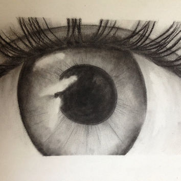 Eye charcoal drawing by VGRInc on Etsy