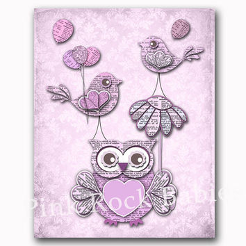 Lilac owl nursery wall decor lavender birds artwork kids room wall art baby girl room decoration playroom poster old dictionary toddler gift