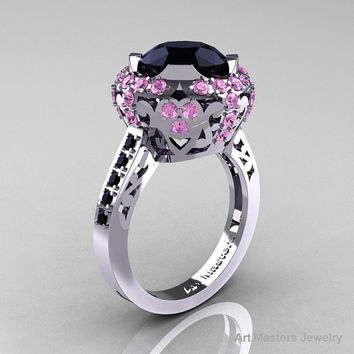 Modern Edwardian 14K White Gold Black Diamond Light Pink Sapphire Engagement Ring Wedding Ring Y404-14KWGLPSBD