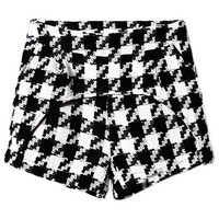 ROMWE | Panel Arc Piece Houndstooth Print Shorts, The Latest Street Fashion