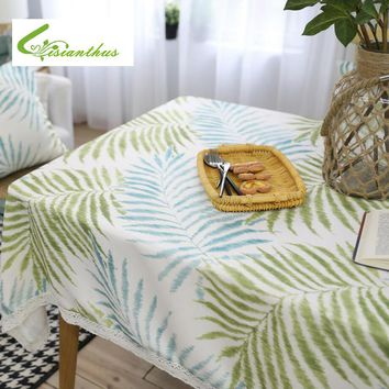 Tablecloth Tropical Plant Leaf Printed Polyester Cotton Coffee Shop Table Cloth Rectangle Table Cover Tablecloth with Lace Edge