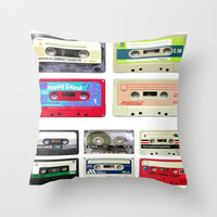 funny geeky colorful cassette tapes vector art Throw Pillow by chicelegantboutique | Society6