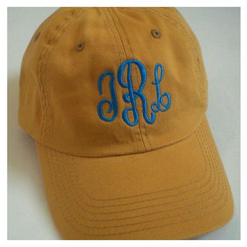 Monogram Baseball Cap Beach Hat Custom Embroidery Monogram Gift Under 30 Dollars