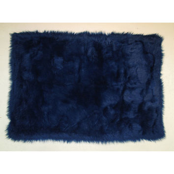 Fun Rugs Flokati Collection Dark Blue Area Rug