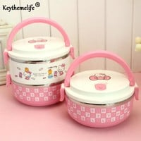 Keythemelife Hello kitty Thermo Lunch Boxs Portable Food Container PP+Stainless Steel Kids Lunchbox for Students DF