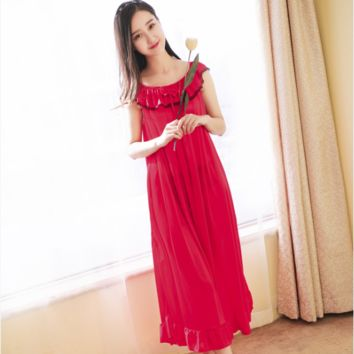 Women Sexy Nightgowns Lace Plus Size Sleep Dress Nightwear Silk Ladies Long Section Home Dress Summer Style