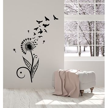 Vinyl Wall Decal Dandelion Abstract Birds Flower Floral Girl Room Stickers Mural (g1194)