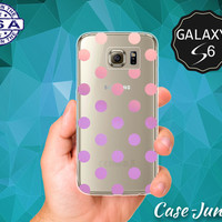 Pink And Purple Ombre Polka Dot Pattern Cute Classic Vintage Case for Clear Rubber Samsung Galaxy S6 and Samsung Galaxy S6 Edge Clear Cover