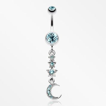 Beaming Stars and Moon Belly Button Ring