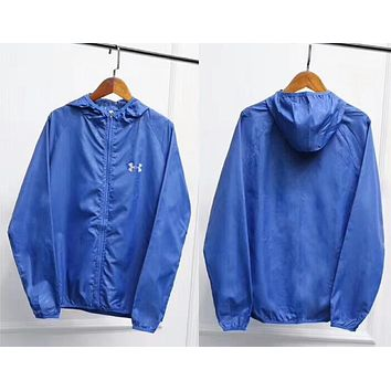"""Under Armour"" Multi-Color Popular Women Men Hoodie Zipper Cardigan Sweatshirt Jacket Coat Windbreaker Sportswear Dark Blue I-AA-XDD"