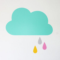 Cloud wall sticker / decal art in mint with yellow, grey and pink raindrops