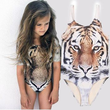 BOKONI Hot sale children one piece swimsuit tiger print swimwear kids bathing suit girl beach wear cute animal biquini