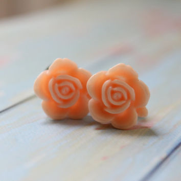 0g 8mm Light Peach Flower Plugs Vintage Inspired Gauges Custom Size 4 2 0 00 Piercing Rose Magnolia Wedding Bridal
