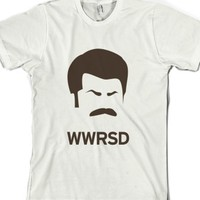 What Would Ron Swanson Do - Brown-Unisex White T-Shirt