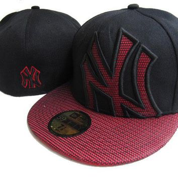 hcxx New York Yankees New Era MLB Authentic Collection 59FIFTY Cap Black-Red Lattice