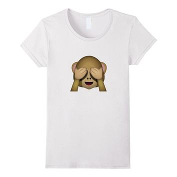 Cute See No Evil Monkey Emoji T-Shirt