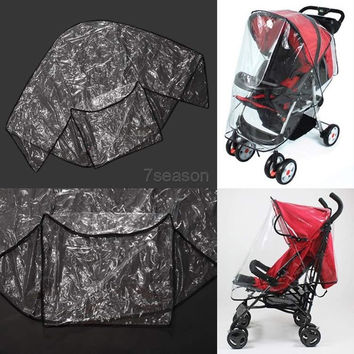 Fashion Universal Waterproof Plastic Cover For Baby Carriage Stroller To Protect Child From Rain Wind 7_S (Color: Transparent) = 1917075140