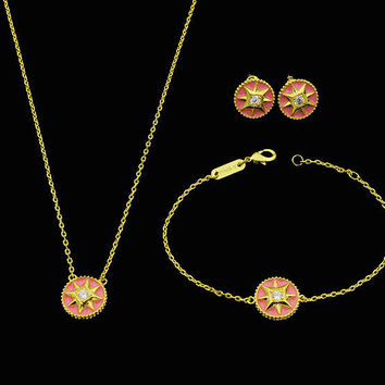 BeadyBoutique Lucky Star Jewelry Collection 3 Piece Set - Pink