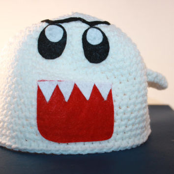 Boo Ghost Hat Inspired by Super Mario Custom Handmade Crochet Sizes Newborn Baby Kids Toddler to Adult