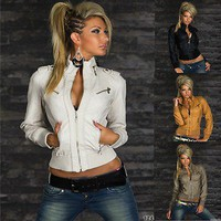 Quality stylish women's Leather look Biker Jacket UK 10,12,14  EU 38,40,42