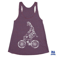 Tank Top Womens GIRAFFE on BICYCLE - American Apparel Tri-Blend Racerback Cranberry S M L  (6 Colors Available)