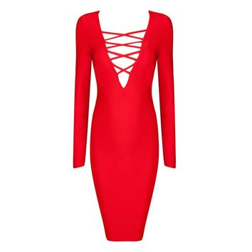 Posh Girl Cross Her Heart Long Sleeve Bandage Dress-Red-L