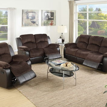 Poundex F6695-96 2 pc samantha ii collection tow tone chocolate padded suede and vinyl upholstered sofa and love seat set with reclining ends