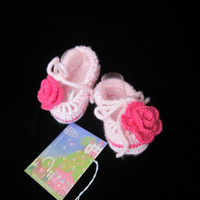 Crochet baby booties. Pink rose crochet baby girl booties. Crochet newborn girl booties. Keds baby shoes. Canvas baby shoes. READY TO SHIP