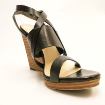 Cole Haan Pelham Black Leather Wedge Strap High Heel Sandals Women's 8 M