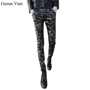 2017 New Arrive Men's Skinny Camo Leather Pants Casual Fashion Camouflage Cool Jeans Size:28-33 Free Shipping 6996
