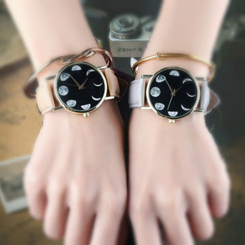 Moon Phases Faux Leather Watch