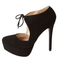 Tied Mary Jane Platform Pumps by Charlotte Russe