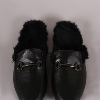 Leather Fur Lined Slip On Loafer