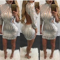 Silver Striped Sequin Backless Bodycon New Year Party Mini Dress