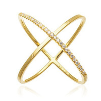 """925 Sterling Silver Elegant Criss Cross """"X"""" Ring with Stones (8, yellow-gold-plated-silver)"""