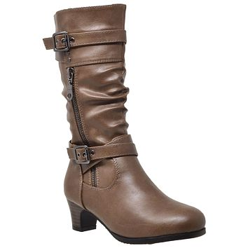 Kids Knee High Boots Ruched Leather Strappy Buckle Zip Accent Low Heel Shoes Taupe