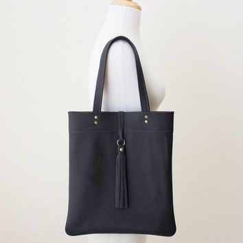 Black Leather Tote with Tassel, Everyday Shoulder Bag, Minimal Leather Tote, Leather Shopper Tote