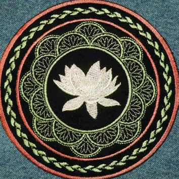 Lotus Flower Iron on Patch by GerriTullis on Etsy