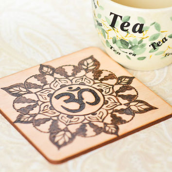 Om Mandala Coaster - Woodburned Yoga Gift - Pyrography Floral Coaster