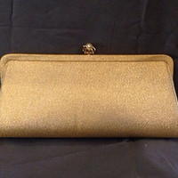 60s Purse 70s Purse/ Gold Lame Clutch with Faux Pearl Clasp