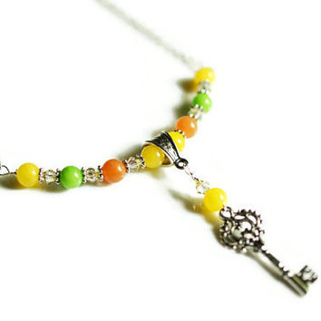 Adventurine Necklace, Jade Necklace, Green, Yellow & Orange Necklace, Key Necklace, Bar Necklace, Colorful Necklace