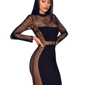 Molly Black Sheer Mesh Long Sleeve Stretch Crepe Dress