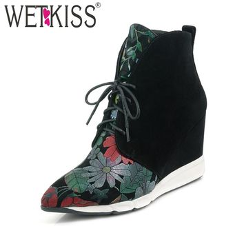 WETKISS Sexy Pointed Toe Ankle Boots 2018 New Arrival Floral Print Winter Boots Platform Lace Up Women's High Wedges Shoes