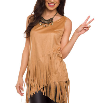 Sequoia Fringe Top - Camel