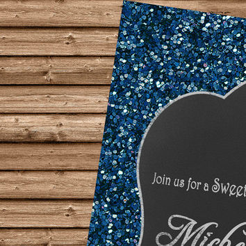 Sweet 16 Invitation - Navy Blue Sweet Sixteen - Bling Sweet 16 - Sweet Sixteen Invitation - Sweet 15 - Navy Sweet 16 - Navy and Silver