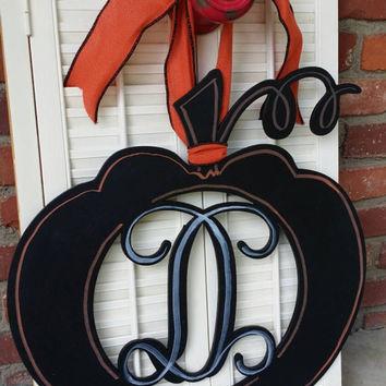 Pumpkin Monogram Pumpkin Door Hanger Halloween Door Hanger Fall Pumpkin Monogram Decor Chalkboard Pumpkin Door Hanger Fall Storm Door Wreath